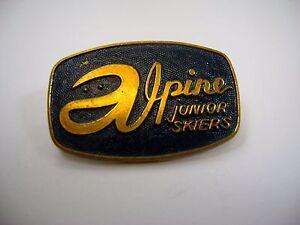 Vintage Collectible Pin: Alpine Junior Skiers Skiing
