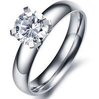 1Stk Damenring Silber Gold vergoldet Edelstahl mit Zirkonia Kristall Dome Ring