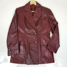 Etienne Aigner Red Classic Burgundy Leather Jacket Sz M EUC C6