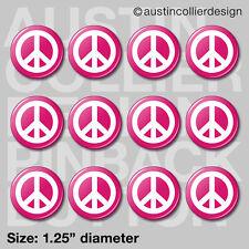 "(12) PEACE SIGN 1.25"" pinback buttons / badges - retro symbol pins"