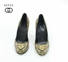 GUCCI Coated Canvas Pumps, heels, Gold front size 37 Vintage
