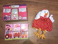 Doudou poule Ophélie Marionnette + Cubes Bébé LILLIPUTIENS jeu d'eveil 1er age