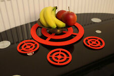 Circle Grille Felt Placemats and coaster Mats Set of 4 Laser Cut