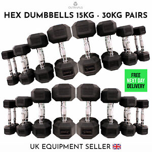 15-30kg Hex Iron Dumbbells Pairs Cast Rubber Encased Home Gym Fixed Weight Sets