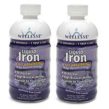2 PACK Wellesse Iron Supplement Liquid 16oz 371401923169