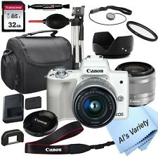 Canon EOS M50 (White) Camera with 15-45mm STM Lens, + 32GB Card,(18PC Bundle)