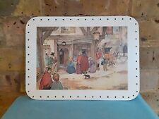"Vintage Large Drilled 12"" Rectangular Basket Weaving Base Victorian Street Scene"