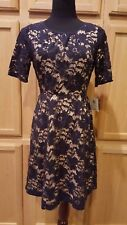 Donna Morgan Navy Lace Overlay/Nude Fit & Flare Dress, 4R - $199