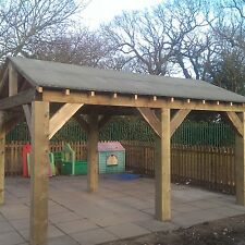 Wooden Garden Shelter, Structure, Gazebo, Hot Tub, Car Port Canopy Kit 4.6m x 3m