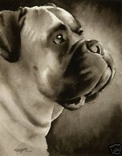 Bull Mastiff Art Print Sepia Watercolor 11 x 14 by Artist Djr