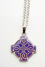 Celtic Cross Head  Mood Colour Changing Necklace