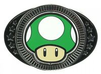 Official Nintendo MUSHROOM REVERSIBLE BELT BUCKLE 1up Power Up Mario Womens Mens