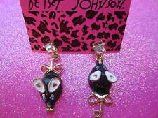 Betsey Johnson Black Mice Dangle Earrings