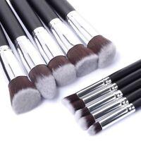 10Pcs Kabuki Style Professional Makeup Brush Set Foundation Blusher Face Powder