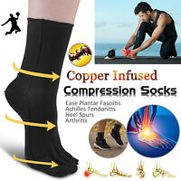Men Women Copper Infused Compression Socks Plantar Fasciitis Ankle Arch Support