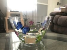 Rare Lenox Glass Butterflies and Blossoms Bowl Hand Painted Romania Htf
