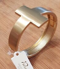 Beautiful Gold Color Cross Faith Christian Bangle Bracelet