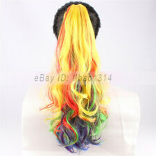 "Rainbow Hair Ponytail Banana Clip in Hair Extension 20"" Long Curly Synthetic NEW"