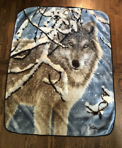 The Northwest Company Fleece Throw Blanket Fox Wolf-  Collin Bogle Signature
