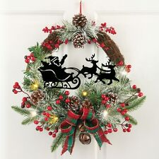 "17"" Dia. Lighted Santa Claus In Sleigh Evergreen Twig Christmas Wreath"