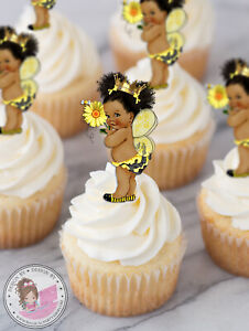 Bee Girl African American Birthday Baby Shower Cupcake Toppers