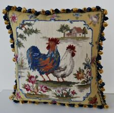 """16"""" Square Rooster Handmade Wool Needlepoint Cushion/Pillow Cover Free Shipping"""