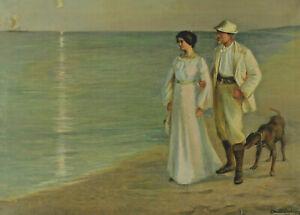 Carlos Muntadas-Harburger 1875 - 1956 - at the Beach Like Peder Severin Krøyer