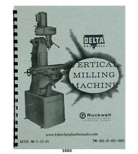 Rockwell Vertical Milling Machine 21-100 Operator and Parts Manual  #1886