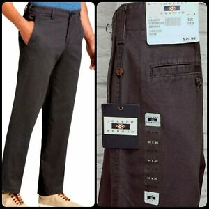 NWT $79 JOSEPH ABBOUD Men's 36 X 30 Gray Chino Flat Front Pants Casual Comfort