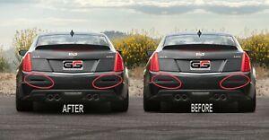 2016-2019 Cadillac ATS-V Rear Reflector Blackout Smoked Lens Cover Kit