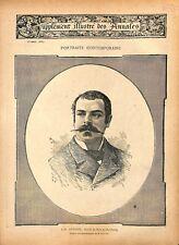 Portrait de Jules-Dominique Antoine député de Metz au Reichstag GRAVURE 1887