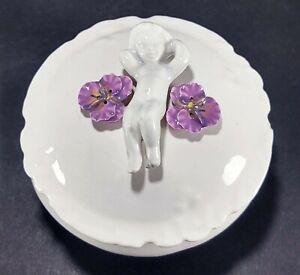Vintage White Ceramic Cherub and Violets Vanity Dresser Jar Trinket Box