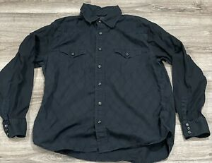 Express Modern Fit Men's Solid Black Long Sleeve Western Pearl Snap Shirt Size L