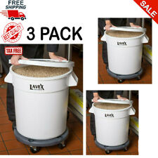 3 Pack Commercial 32 Gallon White Ingredient Bin Lid and Dolly Kit, Free S&H Usa