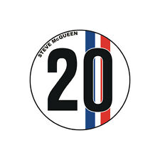 Sticker plastifié NUMBER 20 Steve McQueen Le Mans - 6cm x 6cm