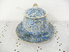 "Beautiful Norcrest Blue Condiment Jar w/ Bottom plate 4"" tall with Label"