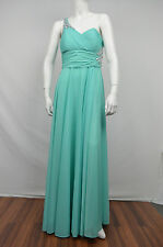 XSCAPE NWT WOMENS AQUA GREEN OPEN BACK ONE SHOULDER BALL GOWN DRESS SIZE: 10
