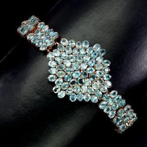 Oval Zircon Seafoam Blue 5x4mm 14K Rose Gold Plate 925 Sterling Silver Bracelet