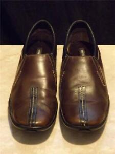 Sesto Meucci Fennie Brown Leather Shoes Loafers Sz 9.5 M Italy VGC Two Tone
