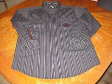 EUC MENS HARLEY DAVIDSON EMBROIDERED STRIPED LONG SLEEVE BUTTON UP SHIRT MEDIUM