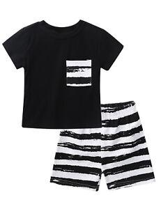Kids Boys Girls Silk Sleepwear Outfit Loungewear Top+Shorts Pants Pajamas Suit