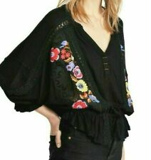 Free People Serafina Embroidered Floral & Crochet Top, Black Combo, S