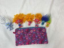 Trolls PVC Figures Lot with zipper pouch case
