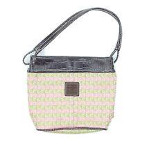 Liz Claiborne Womens Pink Green Signature Logo Preppy Shoulder Bag Purse