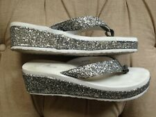 Women's stylish wedge foam flip flop summer shoes silver glitter & white size 40