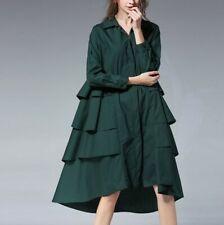 Women Plus Size Ruffle Windbreaker Long Zipper Coat Spring Fall Outwear Jacket L
