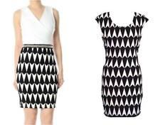 NWT ASOS GEOMETRIC MONOCHROME DIAMOND PRINT BLACK WHITE BODYCON DRESS XS SMALL