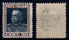 1927 REGNO D' ITALIA VITTORIO EMANULE III 50 C. VARIETA' NERO INTENSO RARISSIMO