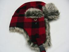 RED & BLACK CHECKS - ONE SIZE - POLYESTER BLEND - TRAPPER AVIATOR STYLE CAP HAT