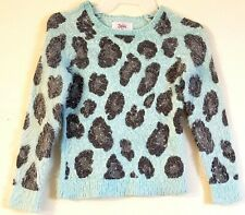 JUSTICE Girl's Mint Frost Green Fuzzy Animal Print Sweater Size: 10